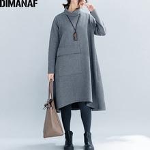 Женское свободное платье из хлопка DIMANAF, Повседневное платье в полоску с высоким воротником и карманами, зимнее платье большого размера