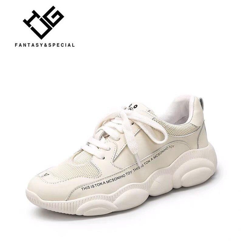 IGU chaussures de course femmes en cuir véritable 2019 nouveau printemps blanc Basket Femme baskets femmes Schoenen Vrouw baskets femmes de luxe