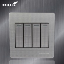 цена на 4 Gang 2 Way Light Wall Switch 10A 110~250V 220V Electrical Push Button Lamp Switches Luxury Satin Metal Stainless steel Panel