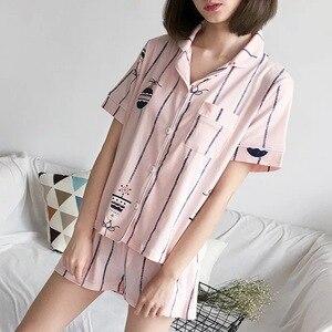 Image 3 - Pyjamas Sets für Frauen 2019 Sommer Mode Nachtwäsche Freizeit Haus Tuch frau kurzarm baumwolle pyjama Mädchen Nachtwäsche Set