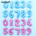 16 дюймов 40 дюймов розового и голубого цвета для детей 0-9 номер Фольга воздушные шары гелиевые шары с цифрами украшения для свадьбы и дня рожд...