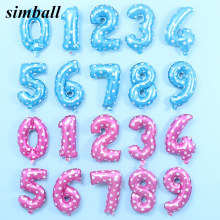 16 Inch 40 Inch Pink Blue 0-9 Number Foil Balloons Digit Helium Balloons Birthday Wedding Decor Air Baloons Event Party Supplies(China)