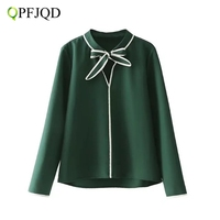 QPFJQD European Style Spring Green Shirt Bow Tie Neck Casual Tops Long Sleeve Elegant Blouse For