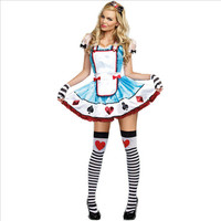 Plus Size Alice Cosplay Costume Blue Maid Alice In The Wonderland Dress Maid Uniform 2016 New