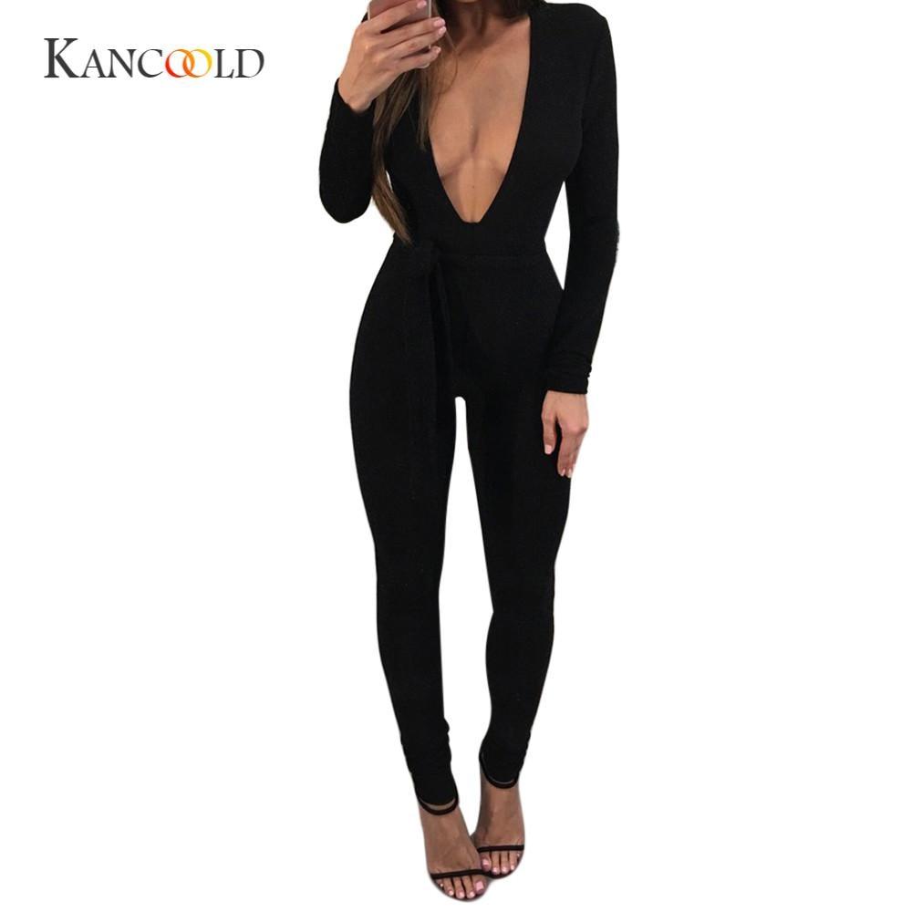 KANCOOLD bodysuit Solid jumpsuit Fashion Solid Deep-V Playsuit Slim Long Sleeve Pullover Siamese Jumpsuit + Belt feb24