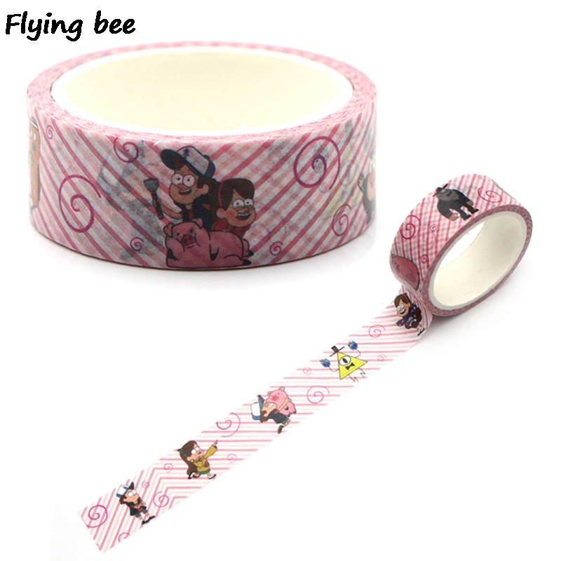 Flyingbee 15mmX5m Gravity Falls Washi Tape Paper DIY Decorative Adhesive Tape Stationery Kawaii Masking Tapes Supplies X0318