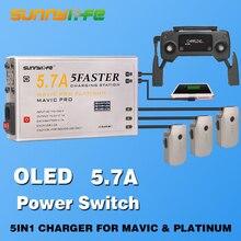 Новое поступление 5 в 1 Батарея контроллер 5.7a большой ток смартфон Планшеты Зарядное устройство с OLED Дисплей для Mavic и платины Drone