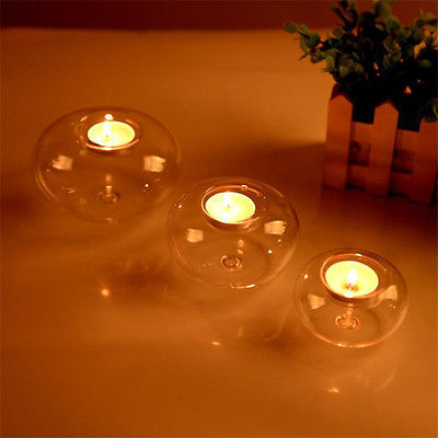1Pcs Clear Round Hollow Heat Resistant Glass Crystal Candle Holders Case Container Candlestick Candler Holder 8/10/12CM 3
