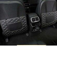 Lsrtw2017 Fiber Leather Car Rear Seat Back Anti-kick Mat for Hyundai Santa Fe 4th Generation 2019 2020