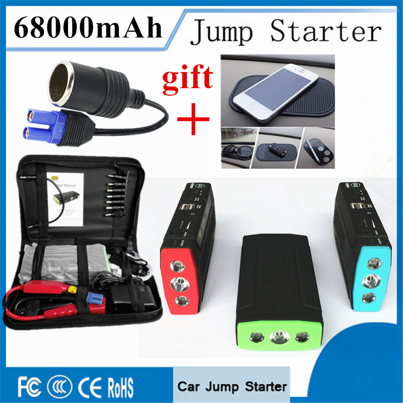 Emergency Car Jump Starter 68000mAh Super Starting Device Power Bank 12V Charger For Car Battery Booster Starting Diesel Petrol 2017 30000mah 12vportable car jump booster led charger emergency start power bank new