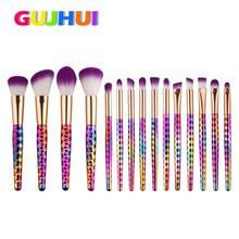 GUJHUI Beauty Girl Hot Professional  15PCS  Make Up Foundation Eyebrow Eyeliner Blush Cosmetic Concealer Brushes Dec.7