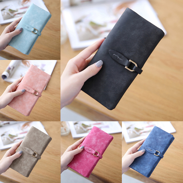 a5553f242ec5b Coofit Kadın Süet Deri Yaprak uzun cüzdan Kadın bozuk para cüzdanı Değişim  Toka Çanta Para Çantası