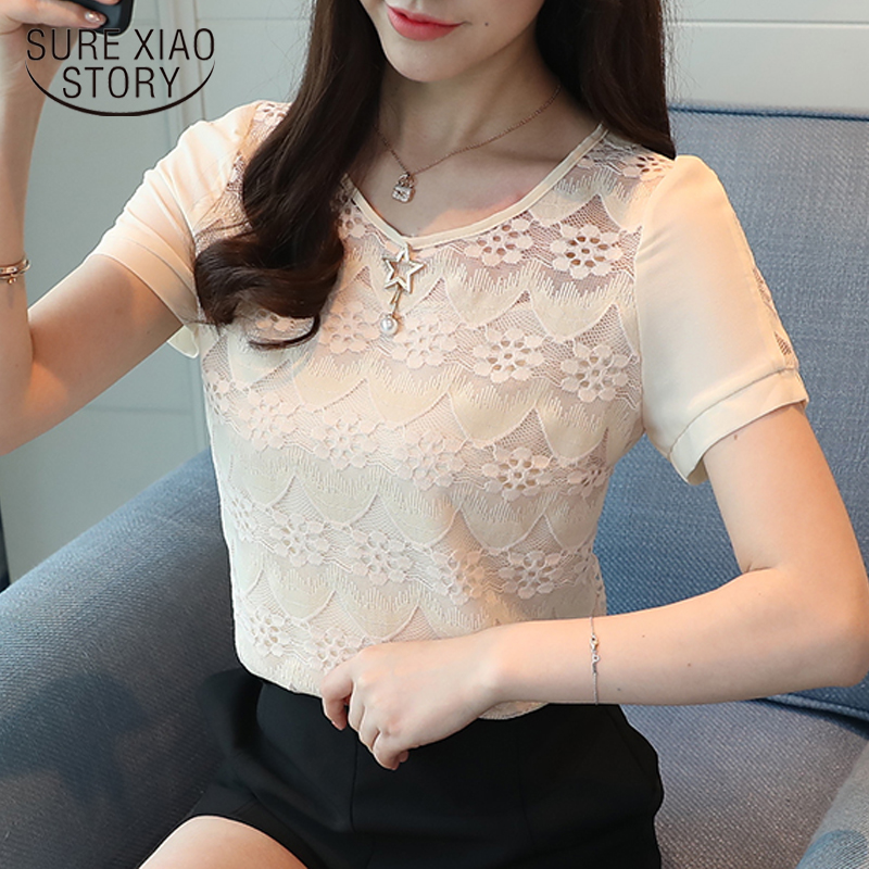 2018 Fashion Lace Women Blouse Shirt Short Sleeve Floral Summer O Neck Causal Women Clothing Elegant Female Tops Blusas 0404 40