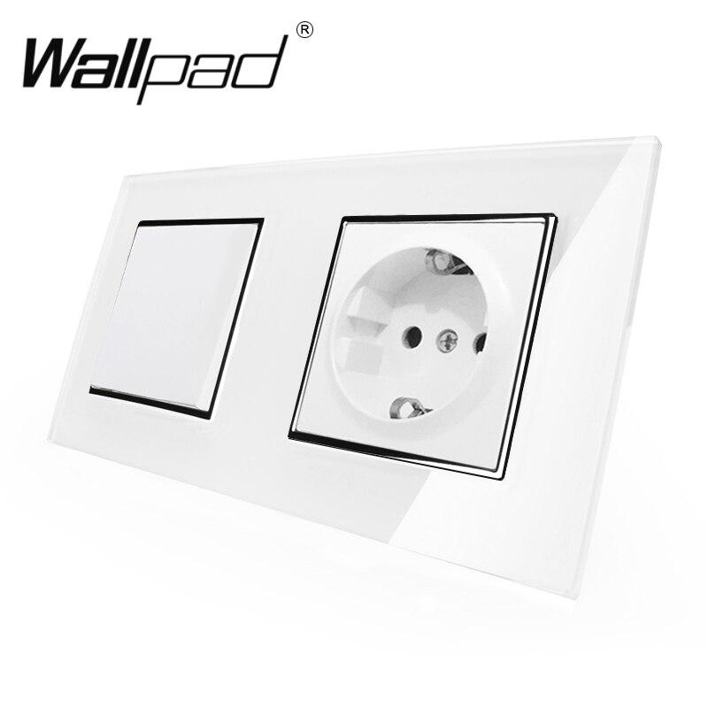 EU Standard Socket With Claws Wallpad White Glass Panel 1 Gang 2 Way Switch And Schuko EU Plug Wall Power Socket With Haken