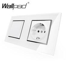 Toma de corriente de pared Enchufe europeo estándar con garras, Panel de cristal blanco, interruptor de 1 banda y 2 vías, toma de corriente de pared con Haken