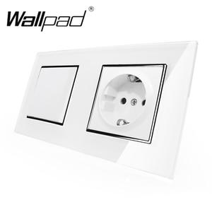 Image 1 - Toma de corriente de pared Enchufe europeo estándar con garras, Panel de cristal blanco, interruptor de 1 banda y 2 vías, toma de corriente de pared con Haken