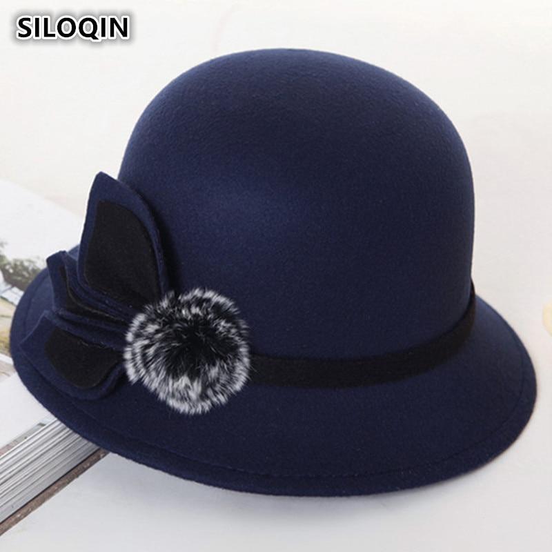 SILOQIN Women's Hats Retro England Warm Fedoras 2018 New Style Spring Autumn Fashion Noble Elegant Flower Decoration Female Hat