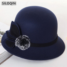 SILOQIN Women's Hats Retro England Warm Fedoras 2018 New Style Spring Autumn Fashion Noble Elegant Flower Decoration Female Hat