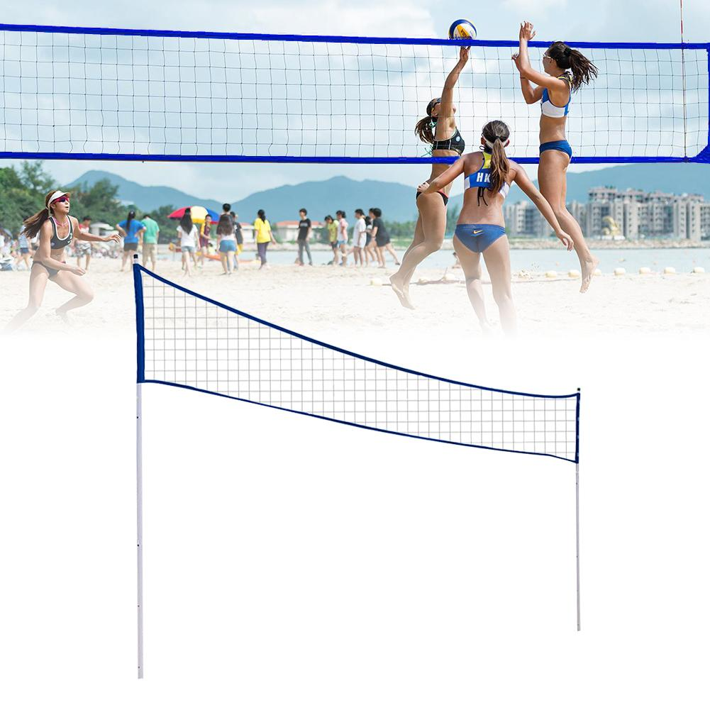 Outdoor Portable Volleyball Net Folding Adjustable Volleyball Badminton Tennis Net With Stand Pole For Beach Grass Park