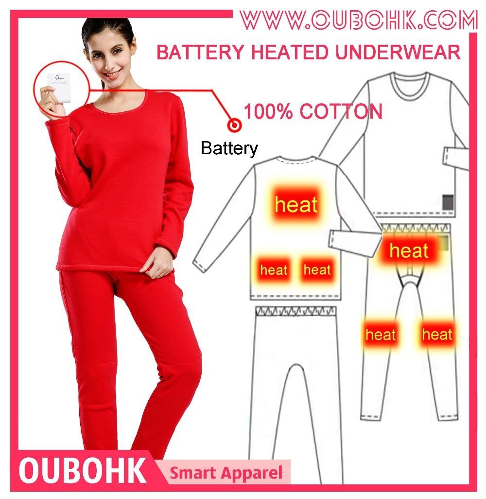 Women's Winter Thermal Underwear Battery Heated Long Johns Upgrade ...