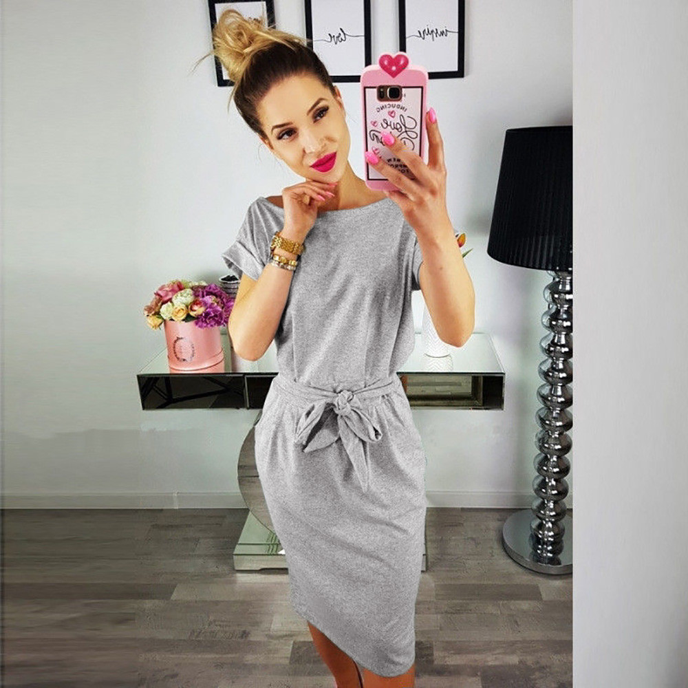 SAGACE Fashion 2019 Women Dress Summer Casual Pocket Summer Ladies Short Sleeve solid color Evening Party Mini Dress Female new