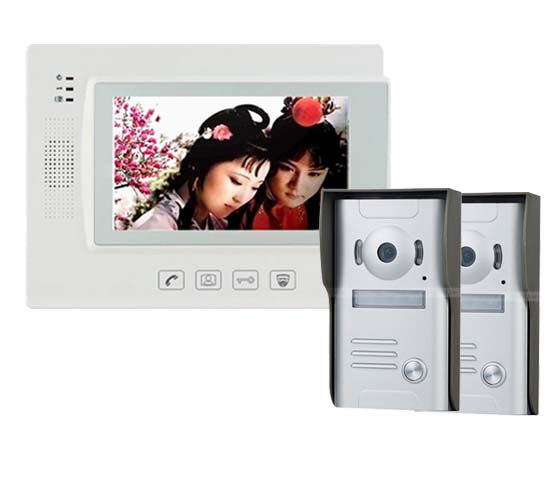 ZHUDELE Home Security Video Intercom 7Touch Key LCD Video Door Phone+700TVLine IR Camera , Support IP Camera 2Cameras+1Monitors