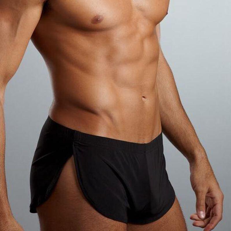 Mode vêtements de nuit lâche comfortable hommes Boxer Shorts pyjamas côté Split sous-vêtements Shorts culottes caleçon tronc Sexy Cueca Homme