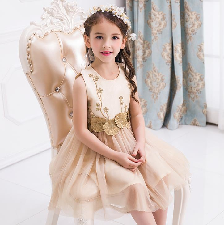 2018 Champagne Flower Girl Dresses 3D Flower Lace Tulle Puffy Ball Gown Girls Prom Pageant Gown for Wedding puffy flower girls dresses ivory champagne tulle bling gold sequins top keyhole back baby ball gown long tutu dress for wedding