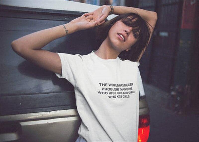 Blogueur Gros Problème Lettre Imprimé Femmes T-shirt 2017 D'été Drôle Shirt Pour Lady Blanc Top T Hipster T-Shirt Femme ropa Mujer
