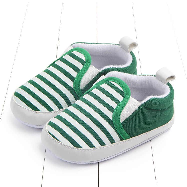 الوليد مخطط الطفل الفتيات الفتيان أحذية طفل الرضيع الأولى مشوا قماش الكلاسيكية أحذية المتسكعون عارضة لينة أحذية