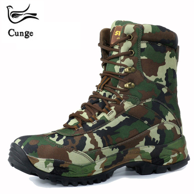 CUNGE Professional Outdoor Climbing Shoes Camouflage Men's Comat Army Tactical Hiking Military Boots