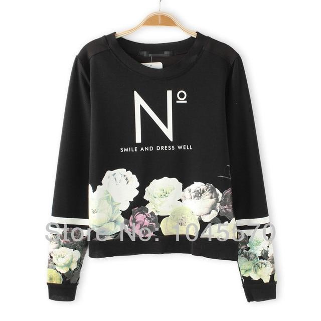 New 2014 Autumn Long Sleeve Crewneck N Letter Roses Printed Vintage Elegant Pullover Top Sweatshirt Fashion Brand Women Clothing
