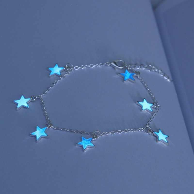 女の子ギフトバレンタインデーの足チェーンブルー五芒星のタッセル蛍光アンクレット