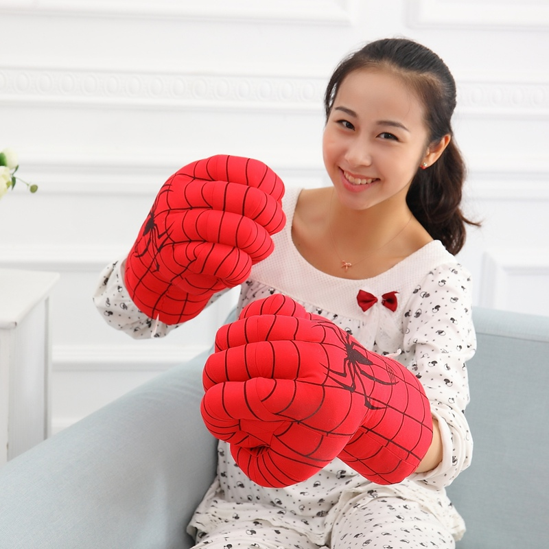 Super Hero Boxing Gloves Against Thanos Smash Hands Soft Plush Gloves Cosplay Costume Toy Fists for Birthday Christmas Gift image