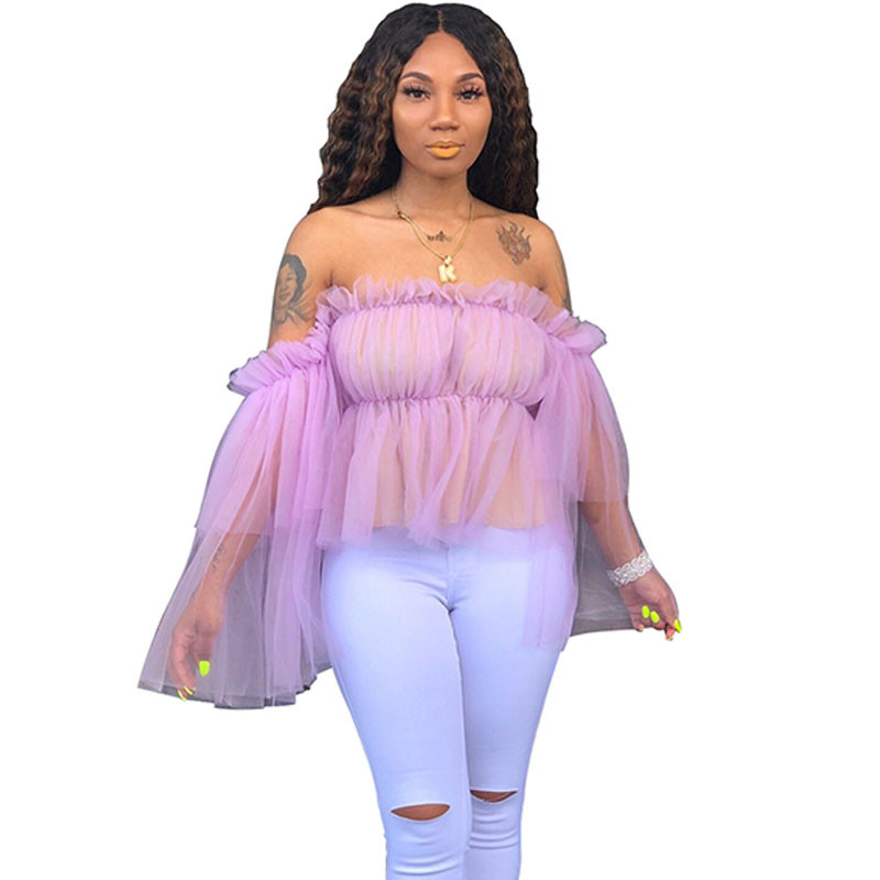 Sexy Voile Mesh Sheer   Blouses     Shirts   Women Off Shoulder Strapless Flare Sleeve   Blouse   Tops See Through Ruffles Ladies   Shirt   Top