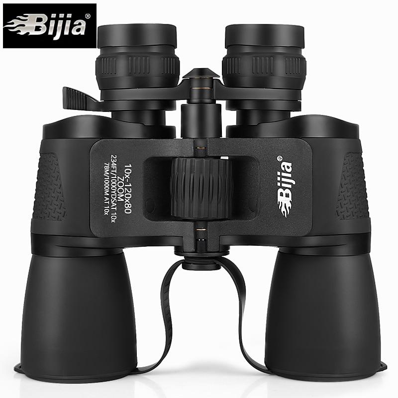 BIJIA 10-120X80 High Magnification Long Range Zoom Hunting Telescope Wide Angle Professional Binoculars High Definition