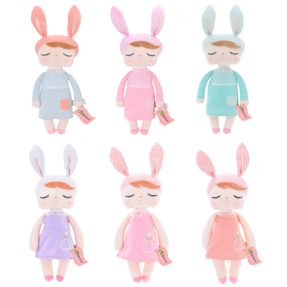 все цены на Metoo 2017 New Design High Quality Angela Dolls With Gift bag Stuffed Pink Yellow Gray Bunny Gifts for Kids Girls 12