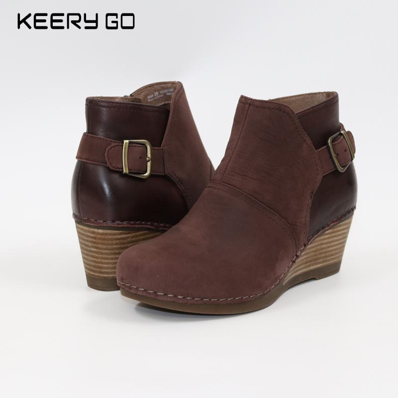 17 years autumn and winter new high-end cow leather incline heel female boots comfortable health shoes