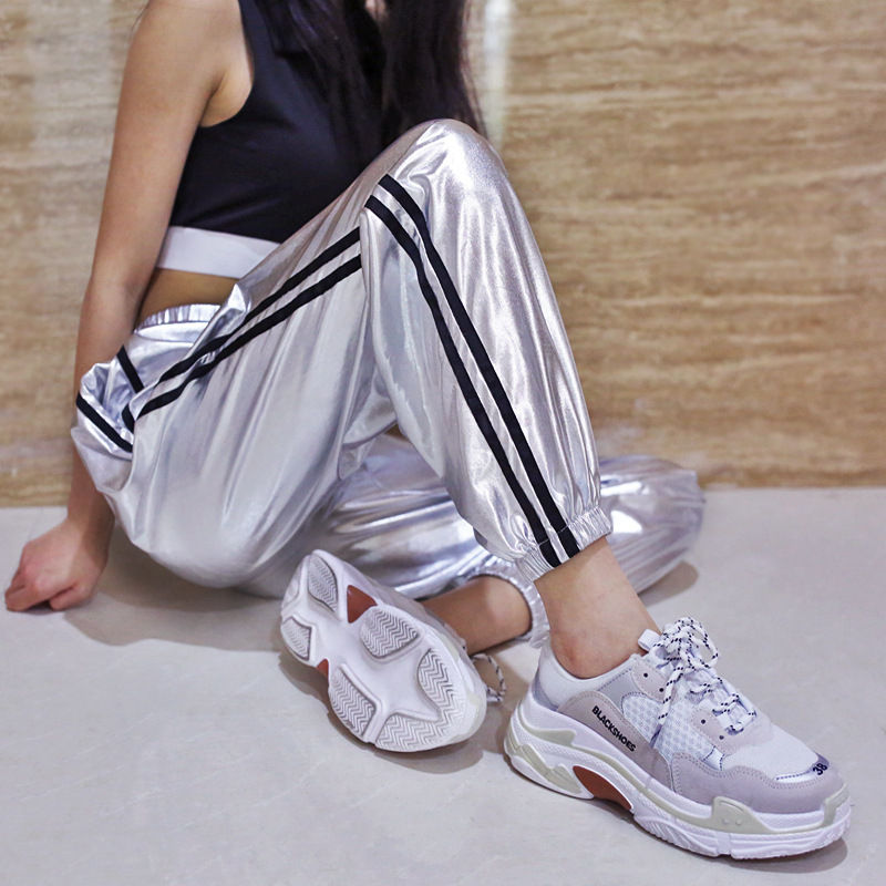 Show details for 2018 Autumn Fashion New Silver Hip Hop Pants Women Joggers Sweatpants Womens Streetwear Leather Side Stripe  Long Pants