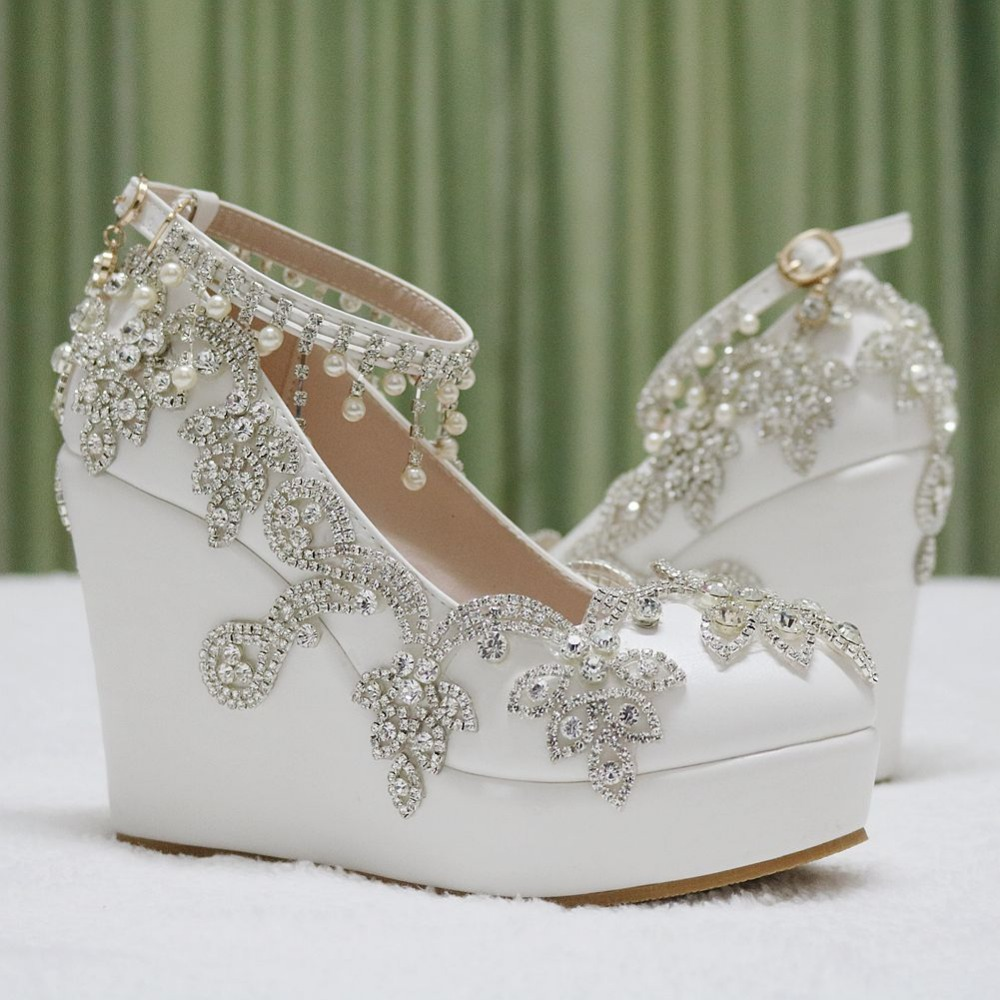 Aliexpress Buy Fashion Rhinestone Wedges Pumps Heels Wedding Shoes For Women White Platform High From