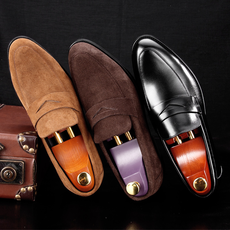 New Arrival Round Toe Man Casual Shoes Suede Leather Comfortable Male Loafers Formal Designer Brand Men's Work Boat Flats MG65