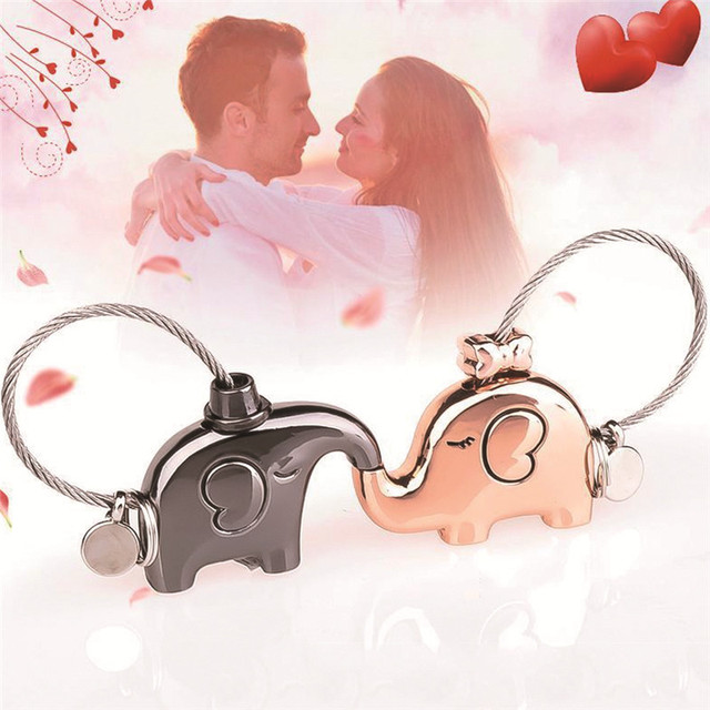 Hot Sale Kissing Elephants Couples  Metal Keychain Keepsake Christmas Valentines Gift for Lover Key Holder #290376