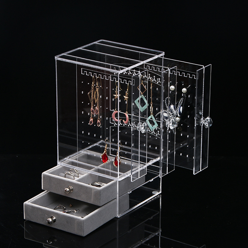 Clear Acrylic Earring Storage Box Display Stand Organiser Earring Studs Holder With Drawer For Jewelry Organizer Rings Box Rack