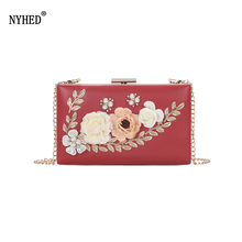 NYHED Women Clutch Bag Fashion Flower Chains Handbags Female Floral Evening Dinner Clutches Party Makeup Bag cocktail prom evening bag long box beautiful girl party banquet purse retro style clutches messeng bag women dinner handbags
