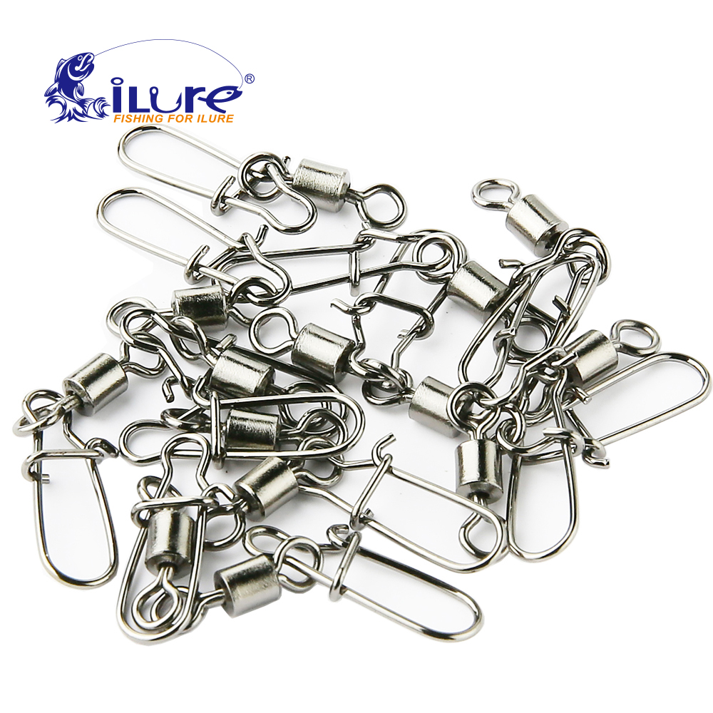 US $2 25 50% OFF|50 Pcs Fishing Connector 2# 14# fishing plug pin bearing  roll swivel stainless steel with snap fishing hook bait fishing tackle-in