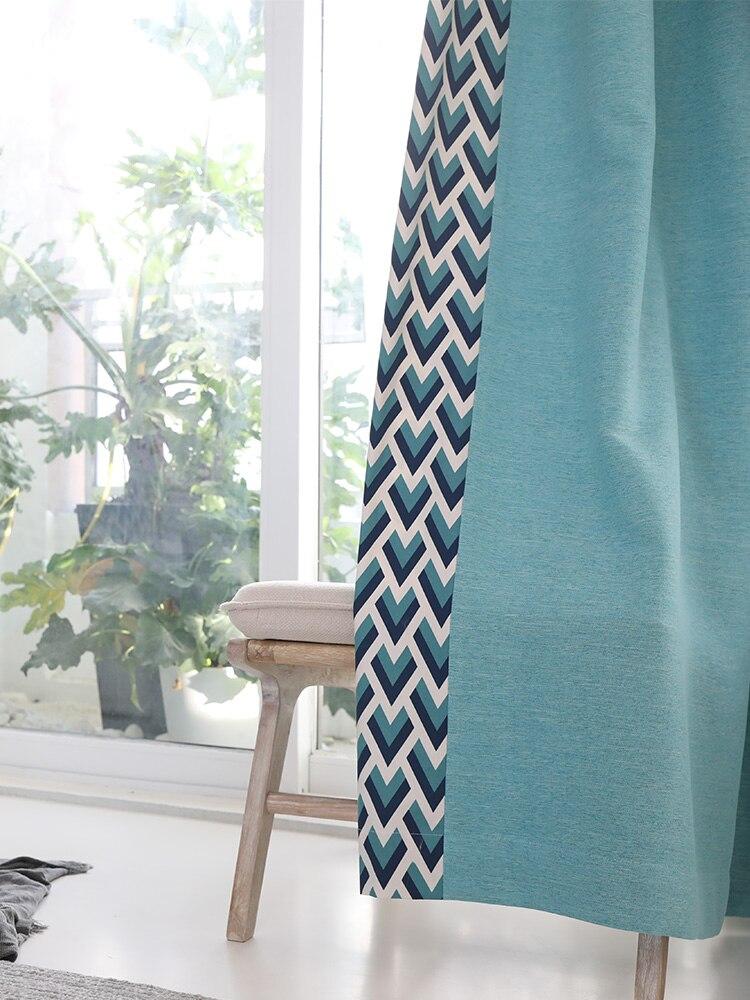 Sur mesure français fenêtre rideau couverture Dressing Ins vague européenne géométrique 2 m x 2.6 m 2 pièces lac bleu kaki gris - 5