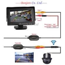 Беспроводной вид Сзади Автомобиля Комплект 4.3 «TFT LCD автомобиля ЭКРАНА Монитор + 170 Широкий степень мини Обратный резервный Датчик Парковки камеры