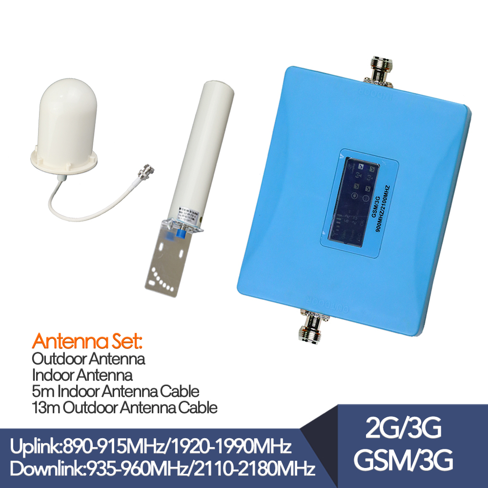 Nouveau répéteur de signal cellulaire gsm double bande 900 2100 amplificateur d'affichage lcd booster de téléphone 2g 3g antenne extérieure pour utilisation de téléphone portable