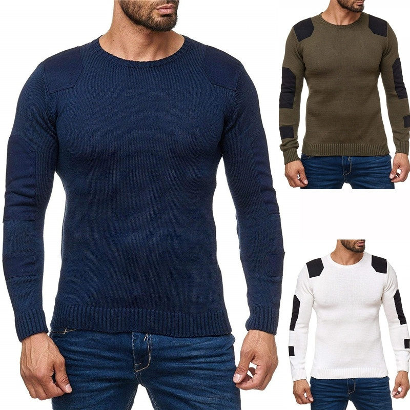 ZOGAA 2019 Brand Patch Sweater Mens Pullover Top Grade Slim Fit Jumpers Knitred Thick Autumn Korean Style Casual Men Clothes