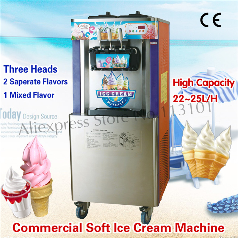 Vertical Ice Cream Machine Commercial Ice Cream Equipment 3 Flavors 22~25 liters/H for Snack Street Leisure Food Device fast food leisure fast food equipment stainless steel gas fryer 3l spanish churro maker machine
